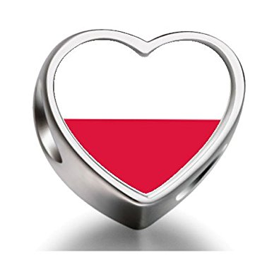 Pandora Poland Flag Heart Photo Charm