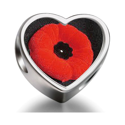 Pandora Poppy Memorial Remembrance Day Heart Photo Charm