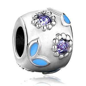 Pandora Purple Birthstone Crystal Leaf Flower Charm image