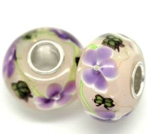Pandora Purple Flower Silver Core Charm