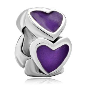 Pandora Purple Multi Heart Charm