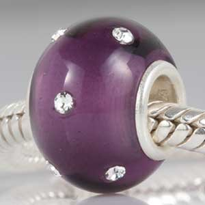 Pandora Purple Murano Glass Clear Swarovski February Charm