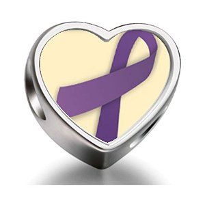 Pandora Purple Ribbon Heart Photo Charm