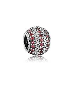 Pandora Red And Silver Glitter Ball Charm