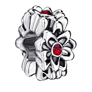 Pandora Red Crystal Flower Charm