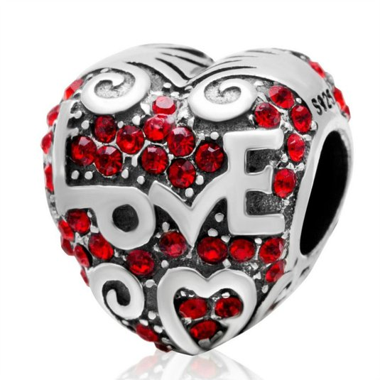 Pandora Red Crystal Love Charm