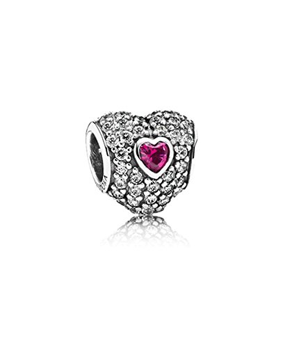 Pandora Red Emerald Paved Crystal Glamulet January Birthstone Charm