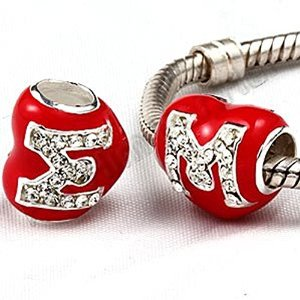 Pandora Red Enamel Heart Letter M Crystals Charm