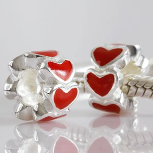 Pandora Red Enamel Multiple Hearts Charm