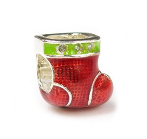 Pandora Red Green Sock CZ Charm