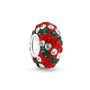 Pandora Red Green White Crystal Charm