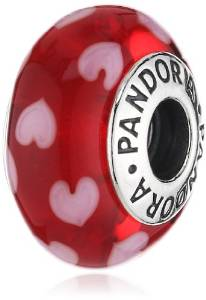 Pandora Red Heart Glass Charm