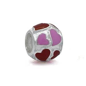 Pandora Red Love Pink Hearts Silver Charm