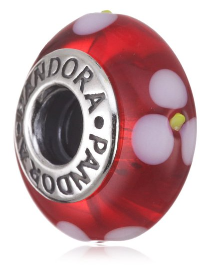 Pandora Red Murano With White Flowers Charm