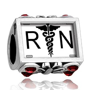 Pandora Registered Nurse RN Cross Swaroski Crystal Garnet Red Charm image