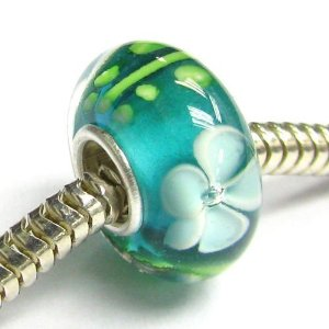 Pandora Round Flower Green Glass Charm