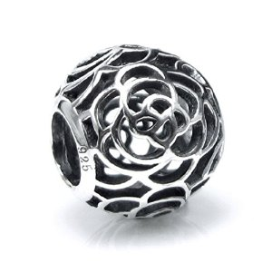 Pandora Round Rose Flower Filigree Charm