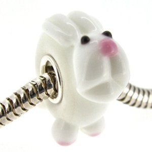 Pandora Round White Bunny Rabbit Glass Charm
