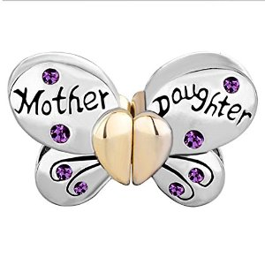 Pandora Separable Butterfly Mother Daughter Crystal Charm