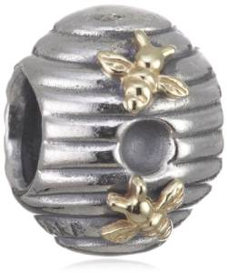 Pandora Silver Bee Hive With Golden Bees Charm