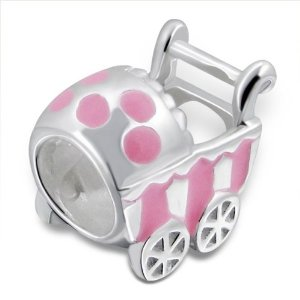 Pandora Silver Buggy Light Pink Charm smaller image