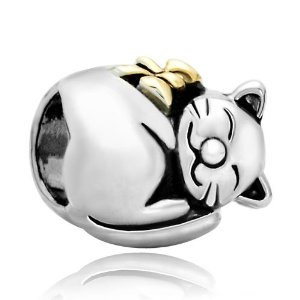 Pandora Silver Cate With Gold Plated Bow Charm
