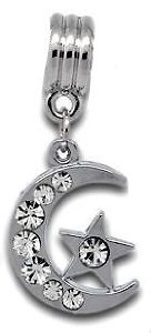 Pandora Silver Clear Stone Moon Star Dangle Charm
