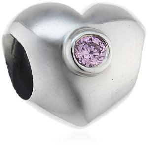Pandora Silver Heart With Pink CZ Stone Charm