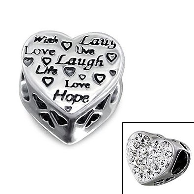 Pandora Silver Live Love Laugh Engraved Heart Charm