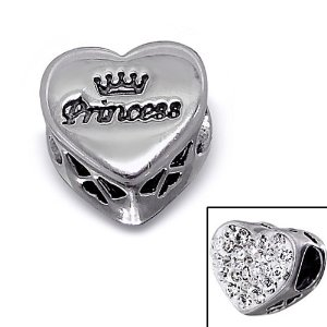 Pandora Silver Princess Engraved Crown Heart Charm