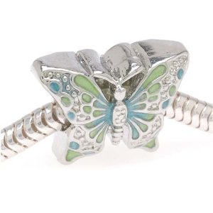 Pandora Silver Tone Green And Blue Butterfly Charm