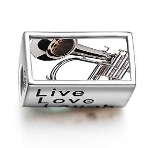 Pandora Silver Tone Trumpet Words Live Love Laugh Charm