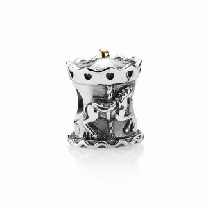 Pandora Silver With 14ct Yellow Gold Carousel Two Tone Charm