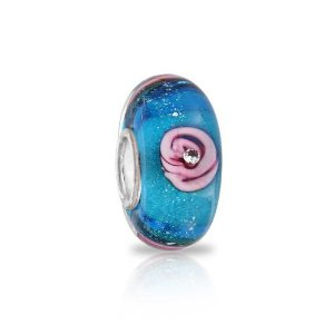 Pandora Simulated Aquamarine Glass Rose Flower Charm image