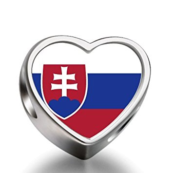 Pandora Slovakia Flag Heart Photo Charm