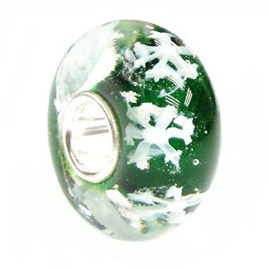 Pandora Snowflake Let It Snow Green Glass Charm image