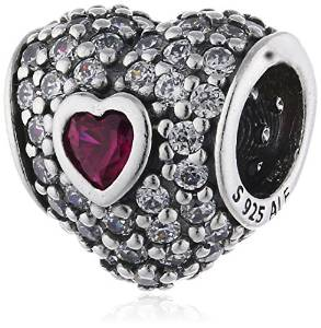 Pandora Solid Heart Ruby Red Pave CZ Charm