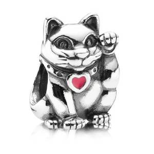 Pandora Solid Silver Cat Red Heart Charm