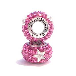 Pandora Solid Silver Dangle Star Pink Crystal Charm