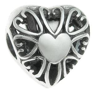 Pandora Solid Silver Heart Clip On Charm image