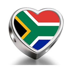 Pandora South Africa Flag Heart Photo Charm