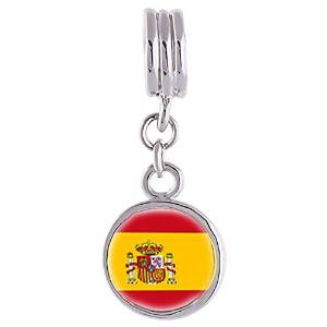 Pandora Spain Flag Photo Flower Dangle Charm