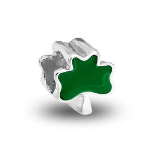 Pandora St Patricks Day Green Shamrock Clover Flower Charm