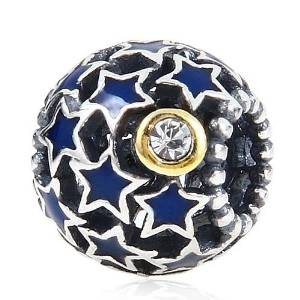 Pandora Star Shaped Dangling Blue Crystal Stones Charm