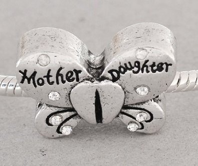 Pandora Sterling Silver Clear Stone Mother Daughter Butterfly Charm