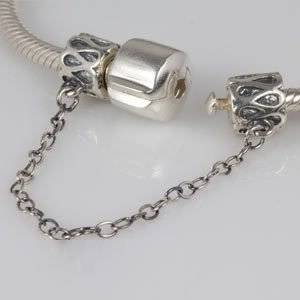 Pandora Swirl Pattern Safety Chain Silver Charm