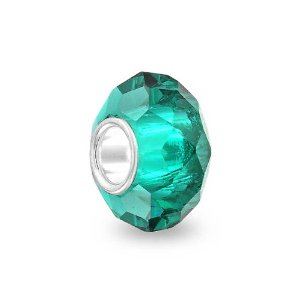 Pandora Teal Green Faceted Glass Charm