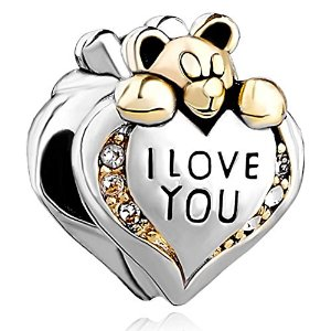 Pandora Teddy Bear Holding I Love You Heat Charm