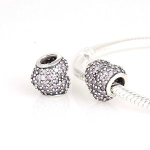 Pandora Threaded Name Pave Hearts Crystals Charm