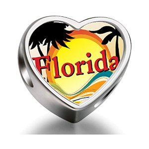 Pandora Travel Culture Florida Heart Photo Charm smaller image